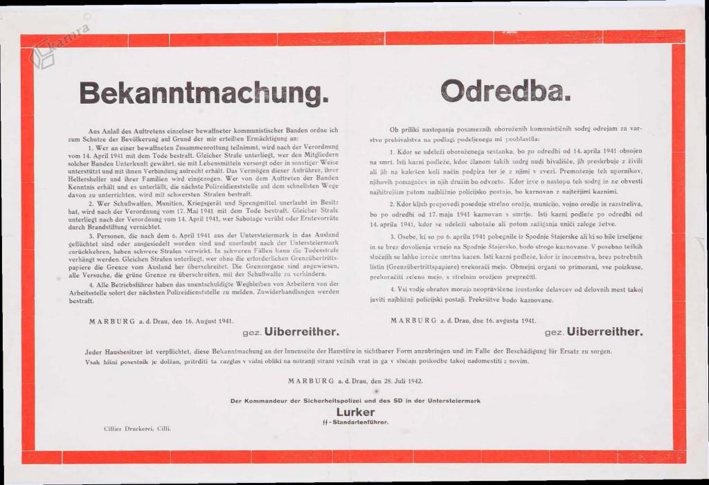 Nemška odredba o ukrepih proti upornikom, Maribor, julij 1942