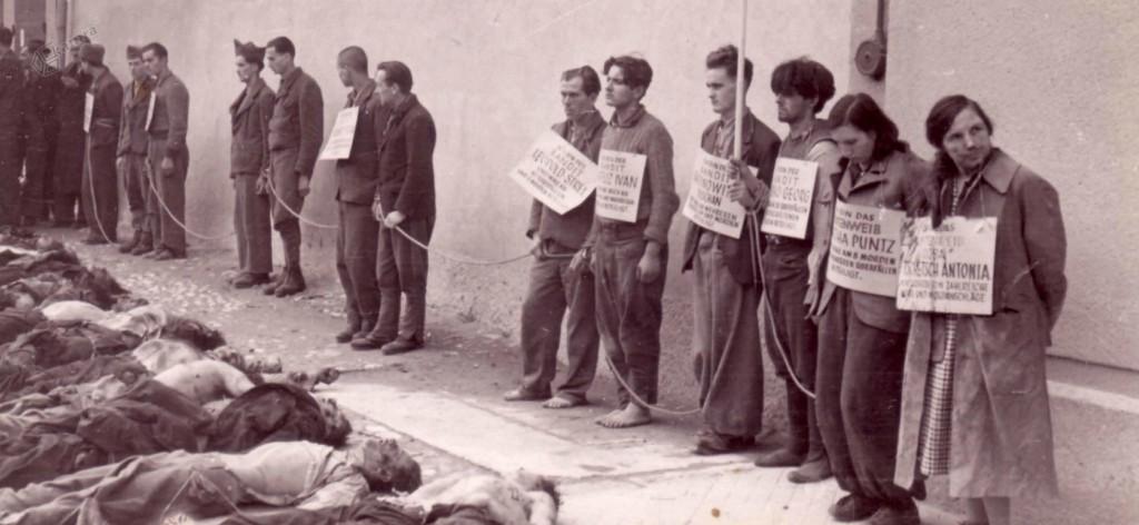 Zasramovanje ujetih in mrtvih partizanov, Celje, november 1942 Na skrajni desni stoji narodna herojinja Tončka Čeč, umrla l. 1943 v Auschwitzu