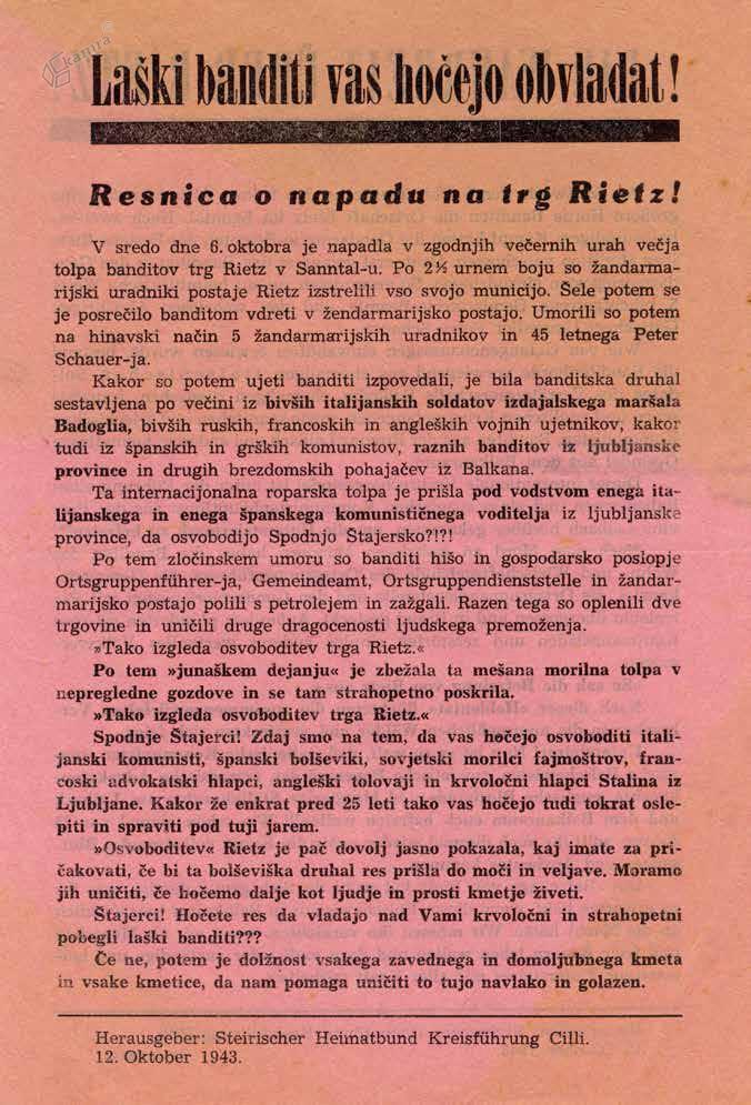 Nemški propagandni letak s poročilom o partizanskem napadu na Rečico, oktober 1943