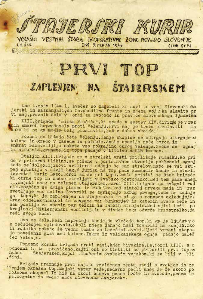 Naslovnica Štajerskega kurirja s poročilom o uspešnih partizanskih akcijah, maj 1944
