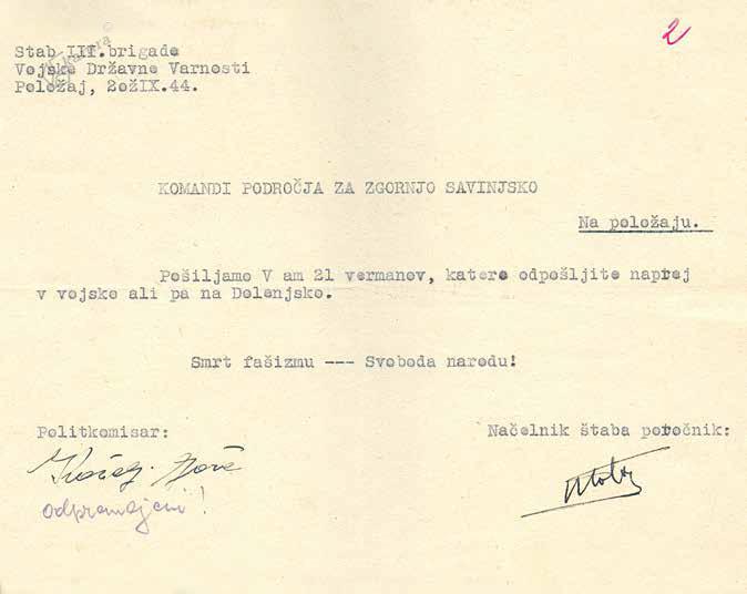 Dokument o napotitvi ujetih vermanov v partizanske enote, oktober 1944