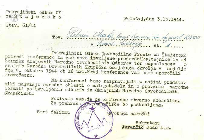Poziv izvoljenim odbornikom na konferenco, oktober 1944