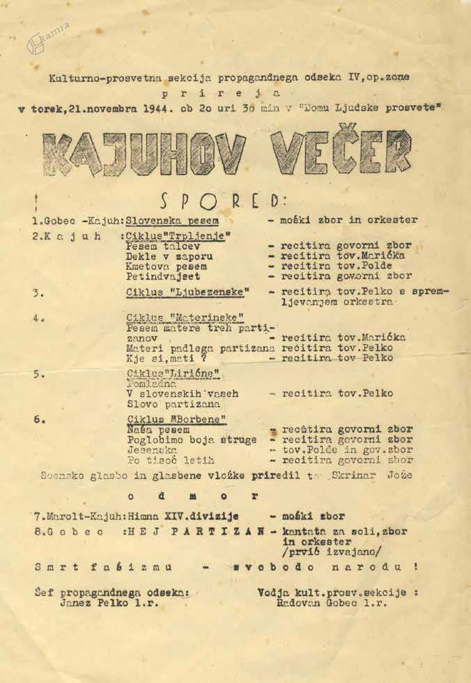 Spored Kajuhovega večera, Gornji Grad, november 1944