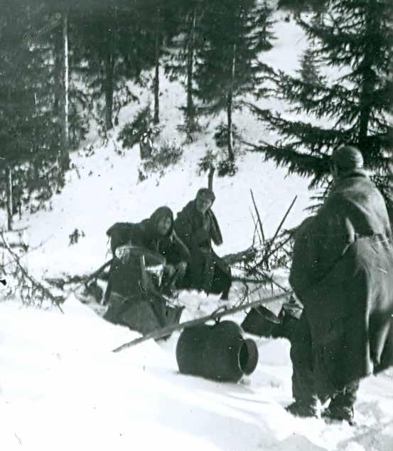 Borci Šlandrove brigade na Menini planini, januar 1945