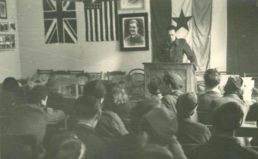 Zastave zavezniških držav na kulturni prireditvi (Zbor Kajuhovega kluba) v Gornjem Gradu, november 1944