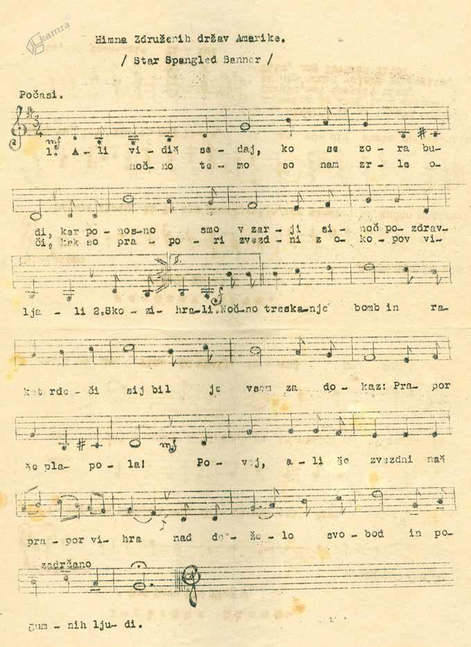 Notna zapisa ameriške in angleške himne, uporabljana na osvobojenem ozemlju