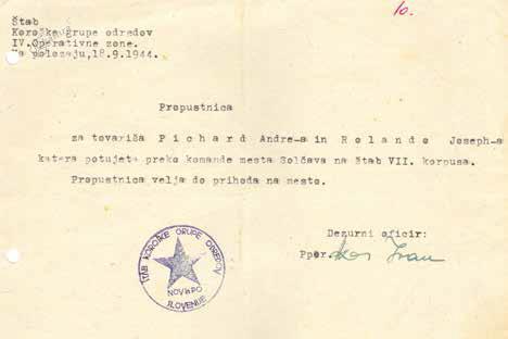 Dovolilnici z navodili za pomoč zavezniškim vojakom pri varnem prehodu čez osvobojeno ozemlje