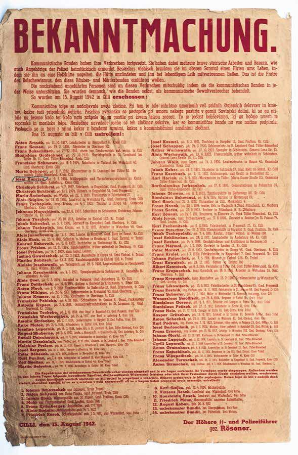 Nemški razglas o streljanju talcev, med njimi 21 oseb iz Zgornje Savinjske doline, Celje, 15. 8. 1942
