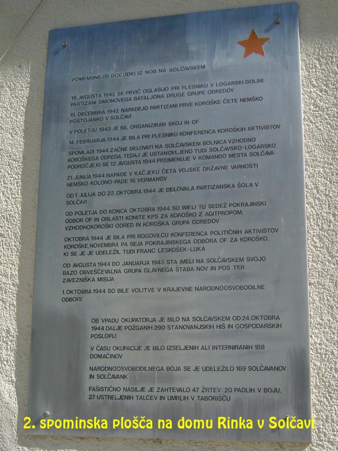 Spominska plošča na domu Rinka v Solčavi