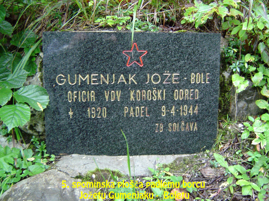 Spominska plošča padlemu borcu Jožetu Gumenjaku – Boletu
