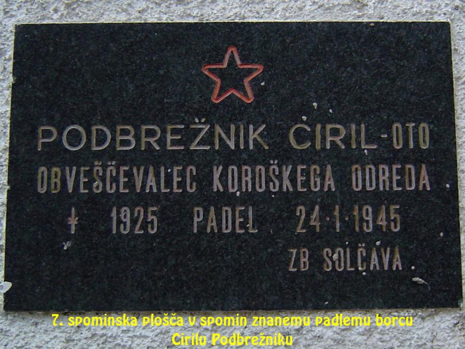 Spominska plošča v spomin znanemu padlemu borcu Cirilu Podbrežniku