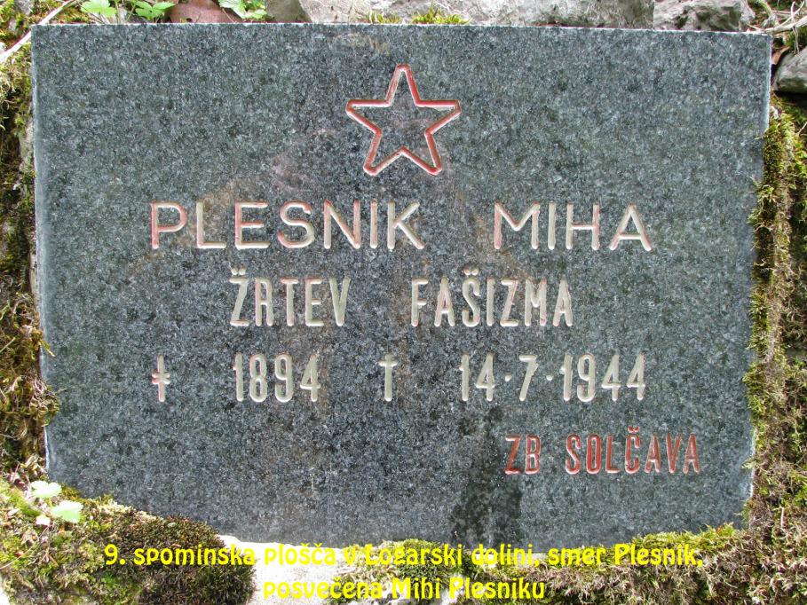 Spominska plošča v Logarski dolini, smer Plesnik, posvečena Mihi Plesniku