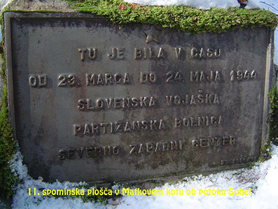 Spominska plošča v Matkovem kotu ob potoku Suhel