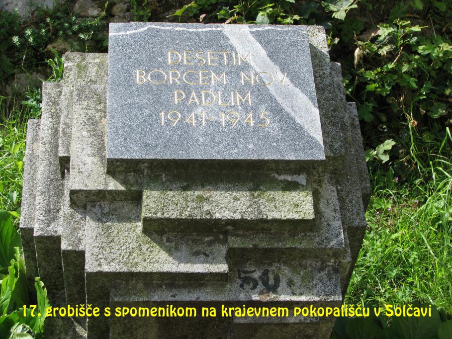 Grobišče s spomenikom na krajevnem pokopališču v Solčavi