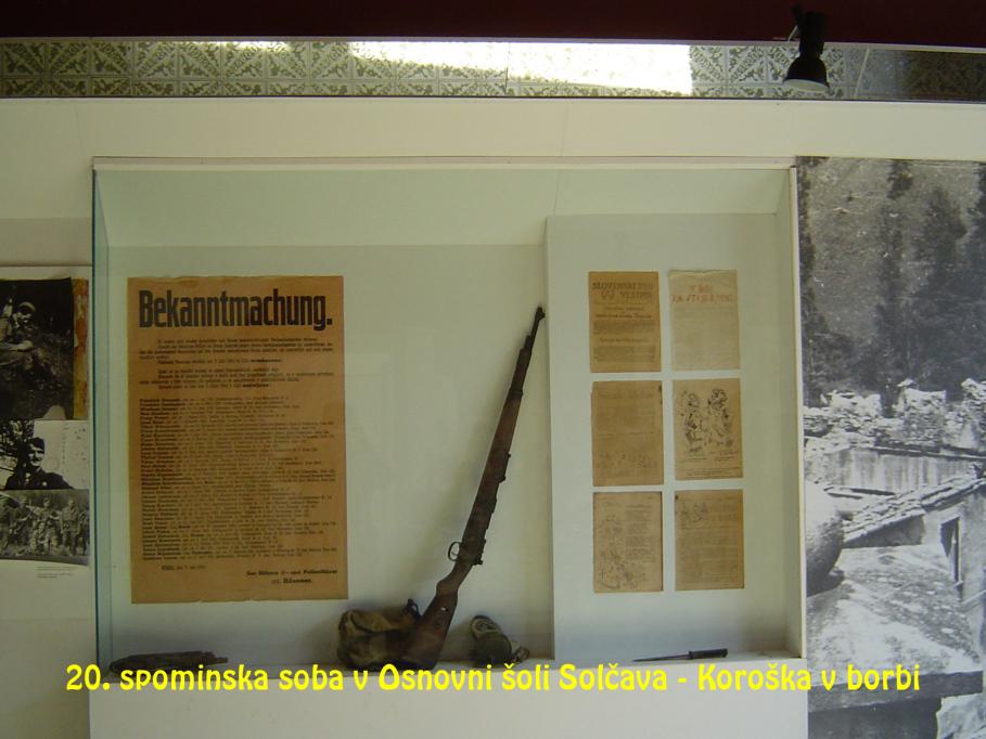 Spominska soba v Osnovni šoli Solčava – Koroška v borbi