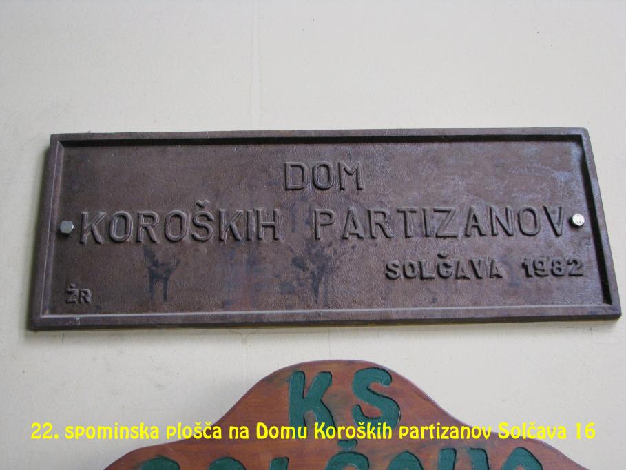 Spominska plošča na Domu Koroških partizanov Solčava 16