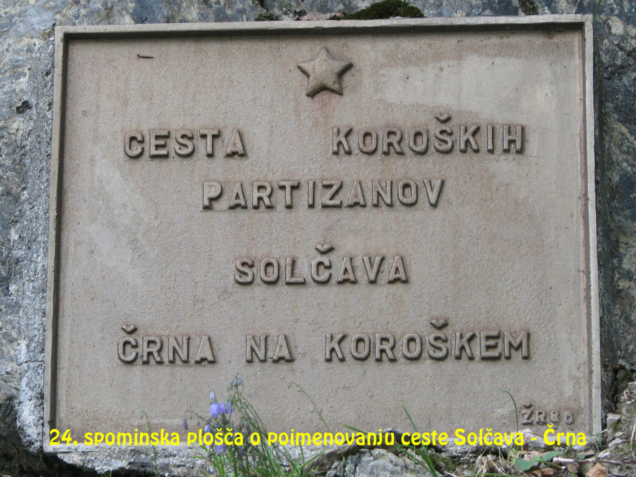 Spominska plošča o poimenovanju ceste Solčava – Črna