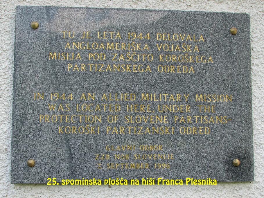Spominska plošča na hiši Franca Plesnika