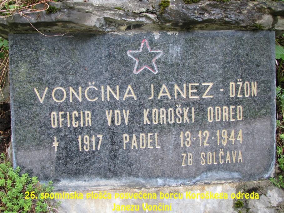 Spominska plošča posvečena borcu Koroškega odreda Janezu Vončini