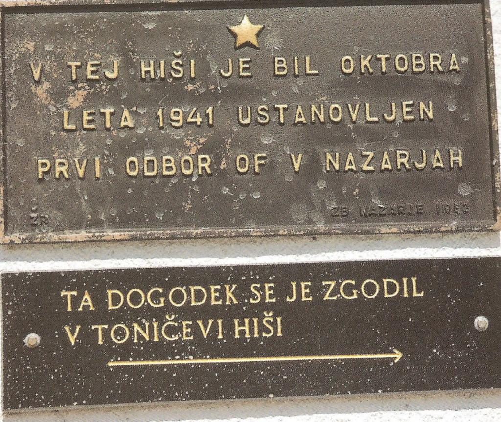 Spominska plošča ustanovnega sestanka odbora OF za Nazarje