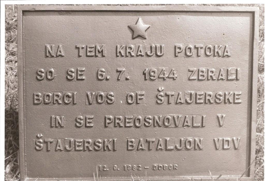 Spominska plošča v Potoku - Nazarje