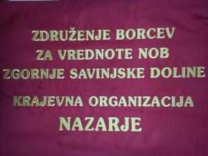 napis na praporju KO Nazarje