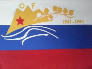 prapor KO Nazarje . slovenska trobojnica s spominskim znakom Osvobodilne fronte
