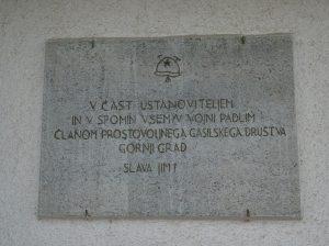 Spominska plošča padlim gasilcem Gornjega Grada v NOB