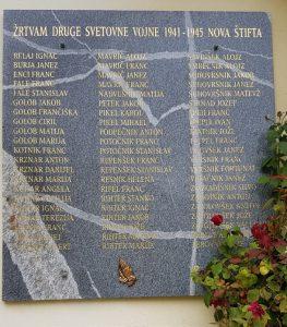 Spominska plošča žrtvam druge svetovne vojne 1941 – 1945 na cerkvi Marije Zvezde Nova Štifta