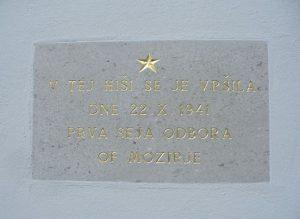 Spominska plošča, posvečena prvi seji odbora Osvobodilne fronte v Mozirju