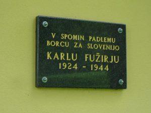 Spominsko obeležje na kraju, kjer je padel borec Karel Fužir – Vitez