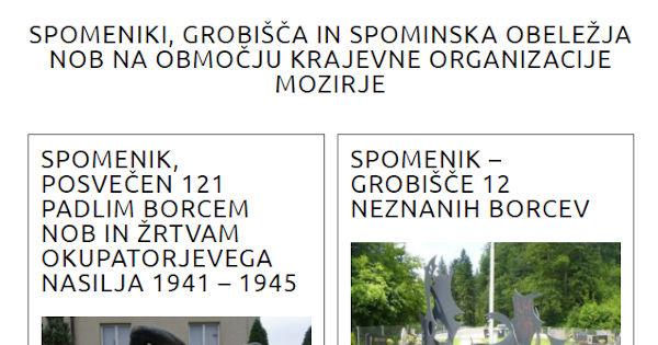 Spomeniki KO Mozirje, prenovljena predstavitev